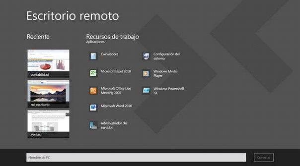 Conectarse a un equipo a trav s de escritorio remoto en for Conexion escritorio remoto windows 8