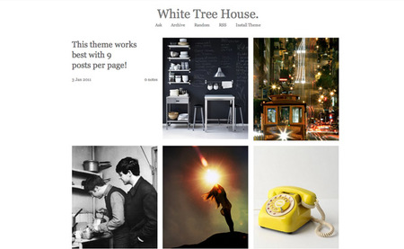 white tree house tumblr theme