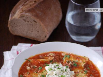 Sopa de lasaña. Receta fácil y reconfortante