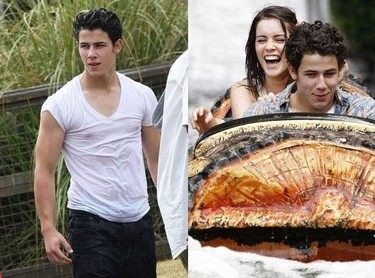 Nick Jonas luciendo pectorales y camiseta mojada en el parque de atracciones