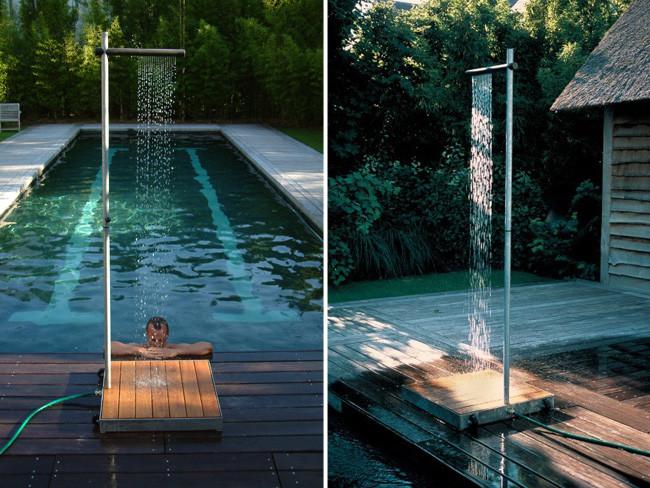 Cascade la ducha de exteriores para un jard n minimalista - Duchas exteriores para piscinas ...