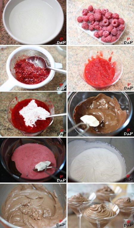 Pasos de la elaboración del mousse de chocolate y frambuesa