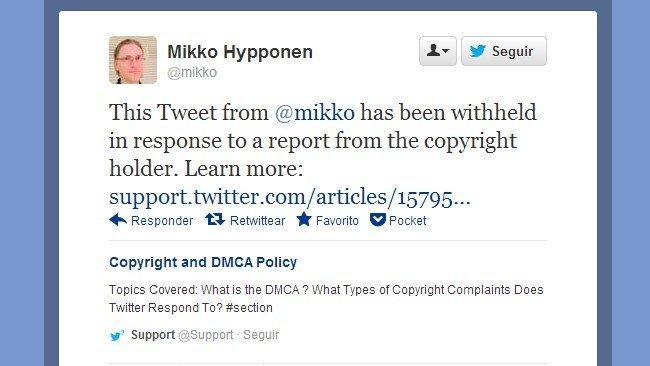 Los tweets que cometan una infracción de copyright serán retenidos en lugar de borrados