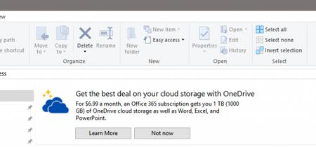 No queda nada sagrado, Microsoft muestra publicidad en el Explorador de archivos de Windows 10