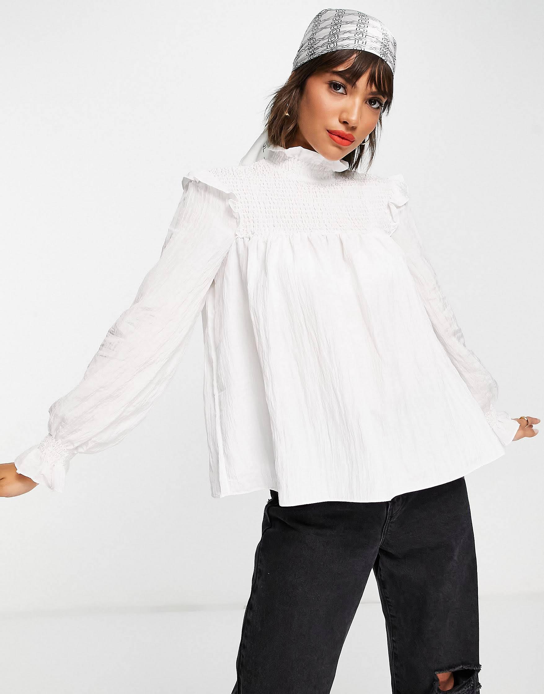Blusa blanco nítido amplia con cuello alto y mangas abullonadas Boza de French Connection
