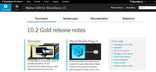 Native SDK BlackBerry 10.2 Gold