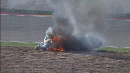 MotoGP Aragón 2014: Héctor Barberá sufre quemaduras de segundo grado