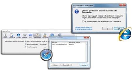 Los gestores integrados de Safari e Internet Explorer