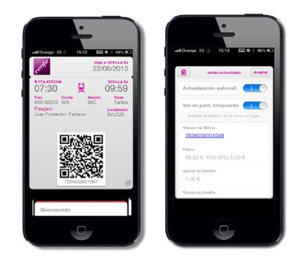 Renfe apuesta por Passbook. Los billetes ya se pueden llevar directamente en el móvil