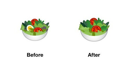 Salad Emoji Android P Before After
