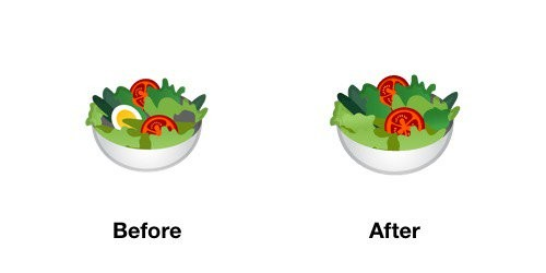 Salad Emoji Android-OS P Before After