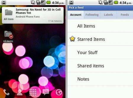 Widgets de Reader para Android