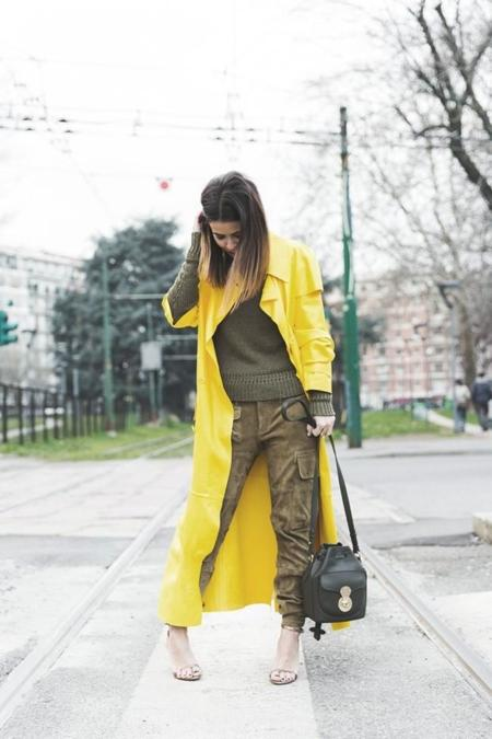 Ralph Lauren Spring Summer 2015 Yellow Leather Trench Suede Cargo Trousers Khaki Outfit Mfw Milan Fashion Week Collage Vintage Street Style 17 790x1185