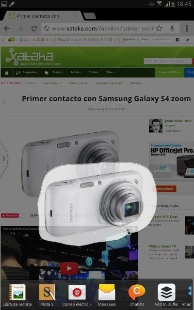 Captura con el SPen de una página web