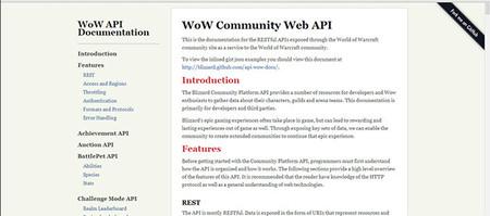 Un número indeterminado de las mejores API de Internet: World of Warcraft Community Web API