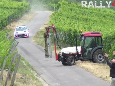 Thierry Neuville probó los frenos del Hyundai i20 WRC gracias a este tractor que se cruzó en el tramo