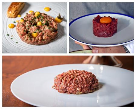 Arriba Izquierda Steak Tartar De Casa Elena Arriba Derecha Steak Tartar De Rocacho Antes De Elaborarse Abajo Steak Tartar De Zalacain Ya Listo Para Consumir