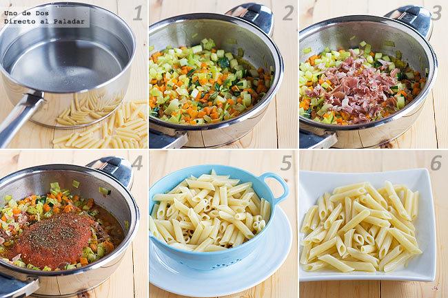 Receta de macarrones con verduras paso a paso
