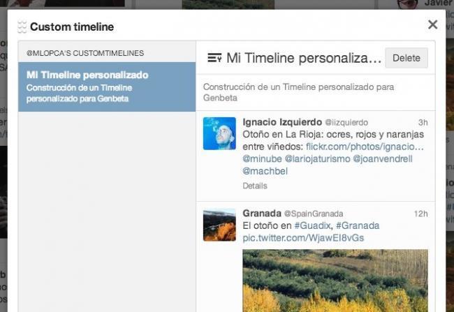 twitter timeline personalizado línea temporal