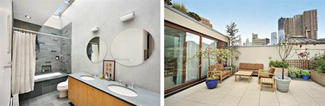 Baño y terraza de Edie Falco