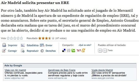 Air Madrid sigue volando en Google Ad Sense