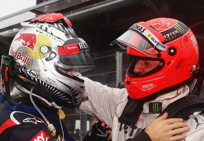 Michael Schumacher y Sebastian Vettel, Interlagos 2012