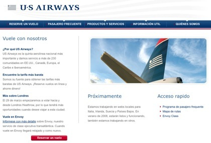 US Airways presenta su web en español