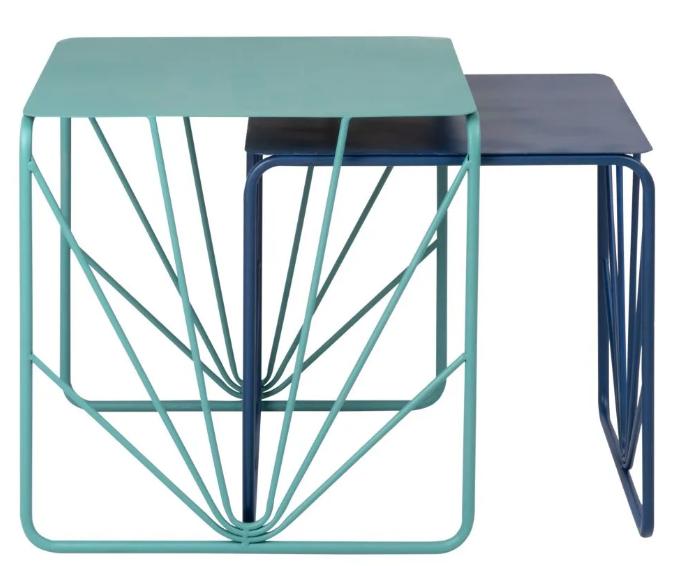 Mesas auxiliares de metal reciclado bicolor