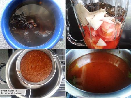Preparación sopa tarasca