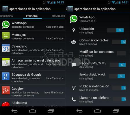 Gestor de permisos en Android 4.3 (Jelly Bean)