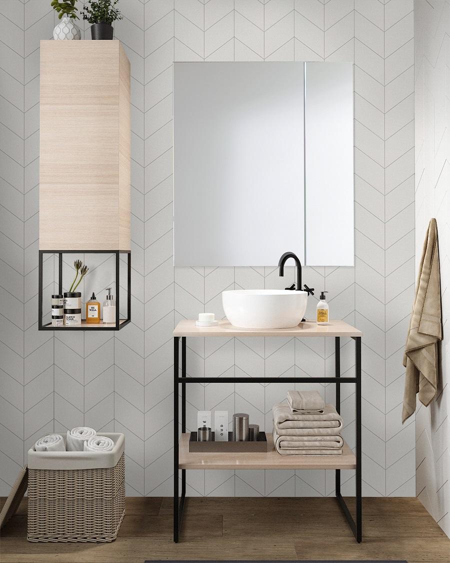 Armario de baño con espejo Nika blanco
