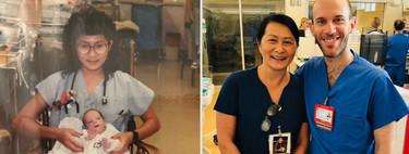 El emotivo reencuentro de una enfermera y uno de los bebés que cuidó en la UCIN, ahora como compañeros de trabajo