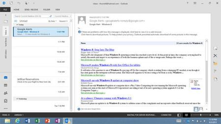 Outlook 2013 RT pierde sus características empresariales