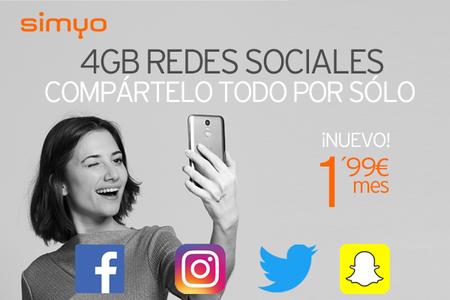 Simyo lanza un nuevo bono de 4 GB de datos para redes sociales por 1,99 euros al mes