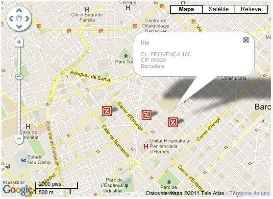 dia supermercado barcelona google maps localizacion