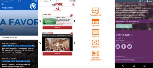 Apps de los partidos españoles