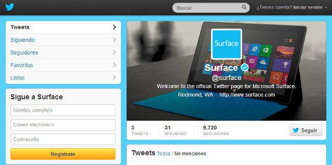 Surface en Twitter