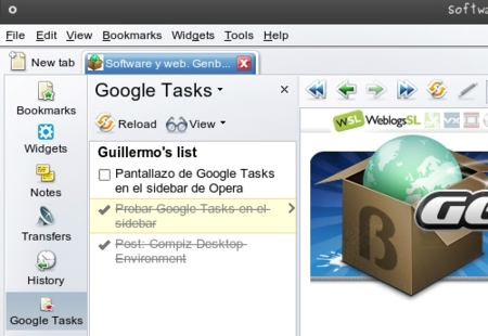 Google tasks en el panel de Opera