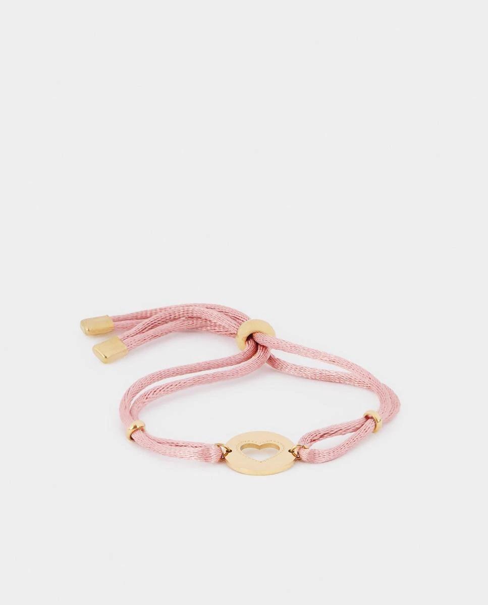Pulsera Parfois de corazón con cordón rosa ajustable
