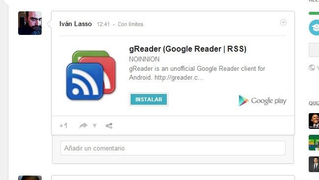 Las aplicaciones de Android compartidas en Google+ incluyen ahora un botón para instalarlas