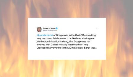 """Trump ataca a Google, apoyando la idea de que quieren """"asegurarse de que pierda en 2020"""""""
