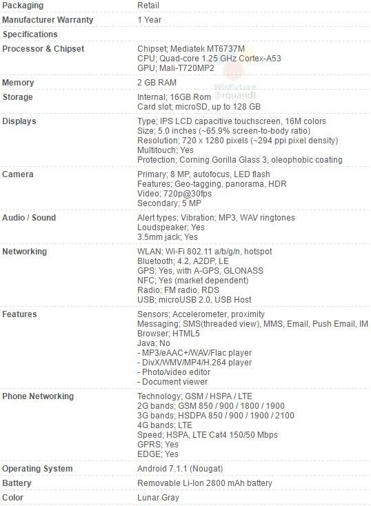 Especificaciones filtradas del Moto™ E4