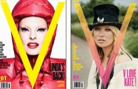 Kate Moss, Lady Gaga, Linda Evangelista y Amber Valletta comparten portada en V II