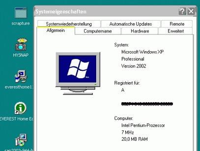 Win XP en un Pentium a 8MHz y 20MB de RAM
