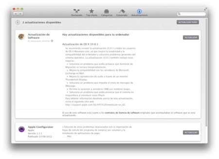 Apple lanza 10.8.1, la primera actualización de OS X Mountain Lion