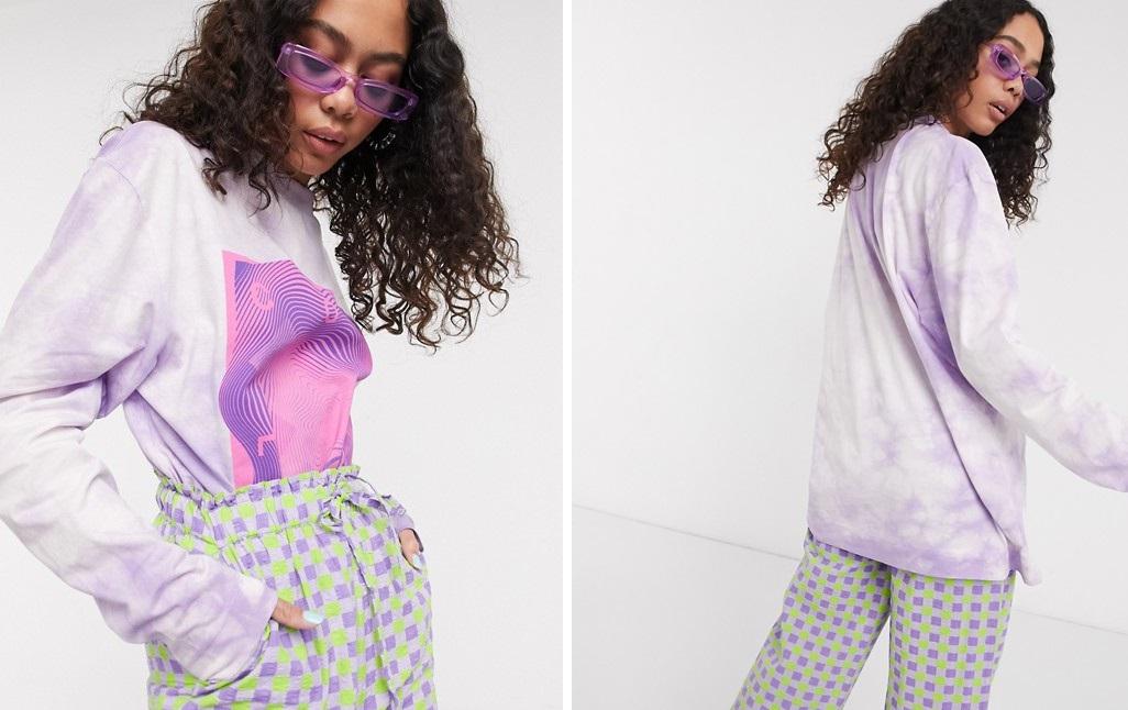 Camiseta desteñida en lila oversize