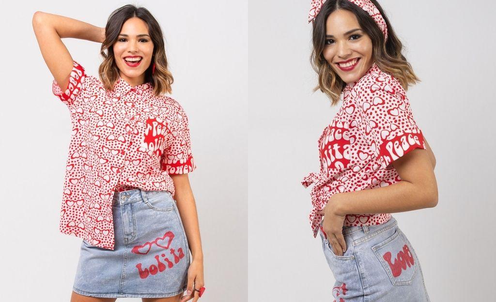 Camisa oversize con estampado Lolina Love