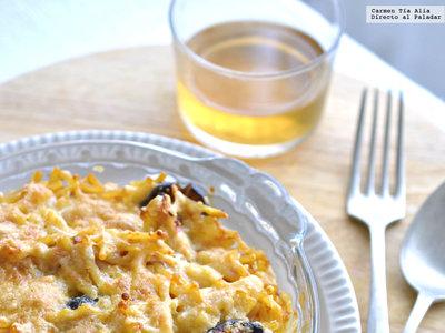 Fideos al horno con shiitake y pollo. Receta