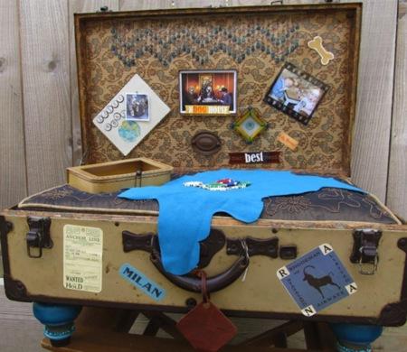 Maletas vintage reconvertidas en camas para mascotas