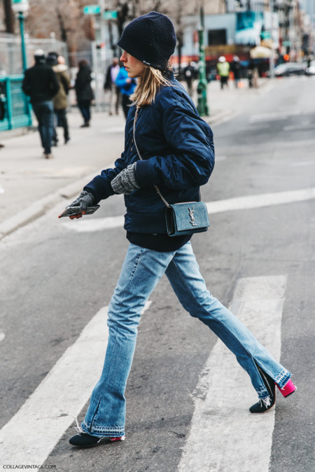 Nyfw New York Fashion Week Fall Winter 17 Street Style Saint Laurent Bag Jessica Minkoff Jeans Bomber 1